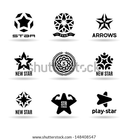 Set of vector stars (3). - stock vector
