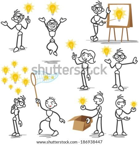 Set Of Vector Stick Figures Man Having Light Bulb Idea