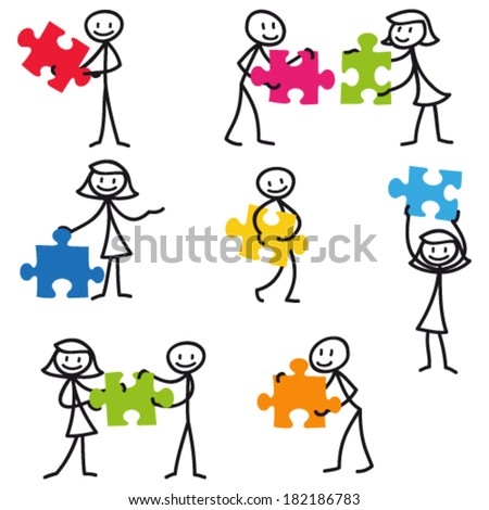 Set of vector stick figures: Stick man holding colorful jigsaw puzzle pieces. - stock vector