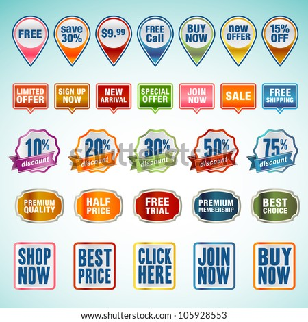 Set of vector stickers and labels - stock vector