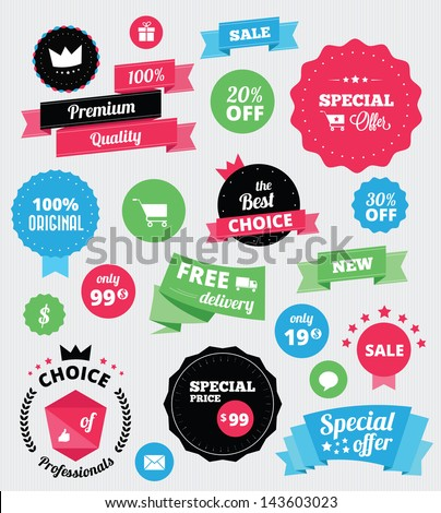Set of vector stickers and ribbons - stock vector