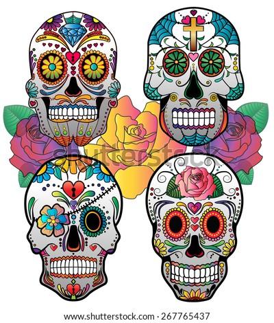 Set of 4 Vector Sugar Skulls (Day of the Dead) - stock vector