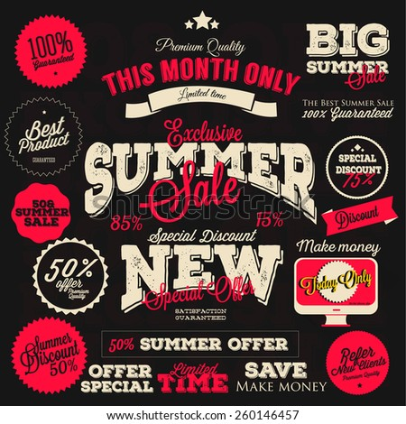 Set of vector summer sales labels and sticker design - stock vector
