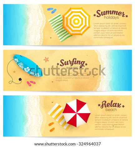 Set of vector summer travel banners with beach umbrellas, waves and surfing board - stock vector