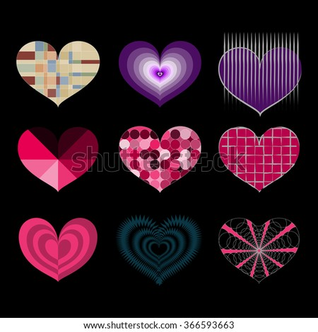Set of vector symbols of multiple colorful hearts isolated on black background, valentine's day gift ideas - stock vector