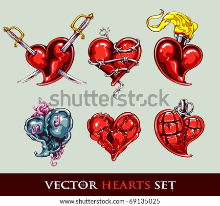 Set of vector tattoo stylized hearts. Put it into your valentines design. Vector EPS 10 illustration. - stock vector