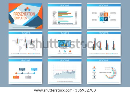 Set of vector templates for multipurpose presentation slides. Modern business design with graph and charts. - stock vector
