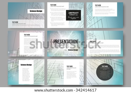 Set of 9 vector templates for presentation slides. Abstract vector background of digital technologies, cyber space.  - stock vector