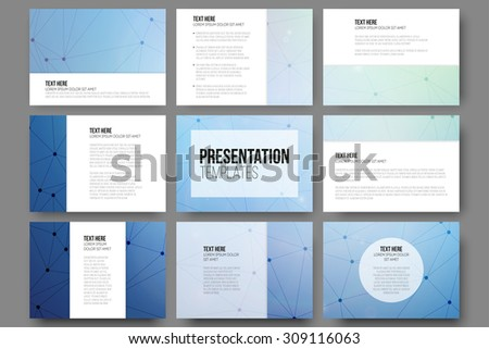 Set of 9 vector templates for presentation slides. Blue vector background with molecule structure  - stock vector