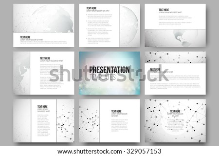 Set of 9 vector templates for presentation slides. Graphic design of molecule structure, dotted world globe. Gray scientific vector design. - stock vector