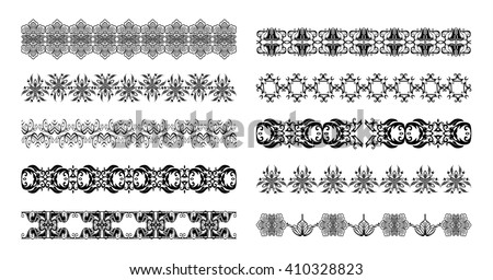 Set of vector templates of pattern and ornament, heart, tattoo, decorative borders and dividers isolated for design. EPS 8. Ideal for use on the body, greeting cards, wedding Invitations, birthday - stock vector
