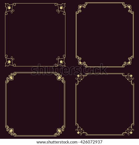 Set of vector thin vintage gold frame for your design. Vintage cover. Place for text. - stock vector