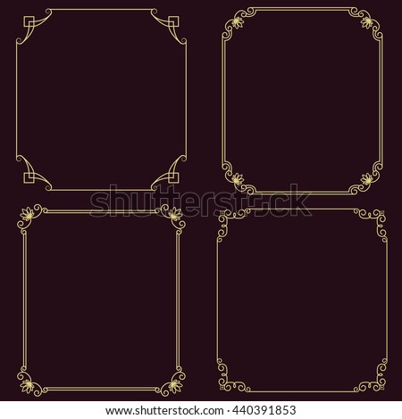 Set of vector thin vintage gold frame for your design. Vintage cover. Place for text. Vintage beautiful rectangular frame.  - stock vector
