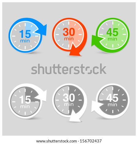 Set of vector timers with arrows - stock vector