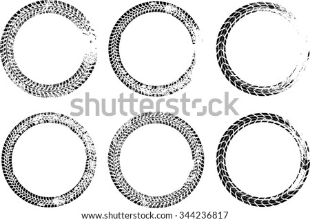 Set of Vector Tire Track Circles . Tire Track Vector Round Border Frame . Distressed Overlay Grunge Design Frame .  - stock vector