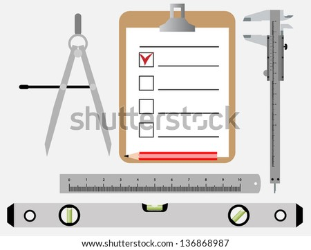 set of vector tools of the engineer - stock vector
