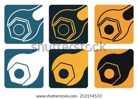 Set of vector tools, wrench and screw nut, industrial style  - stock vector