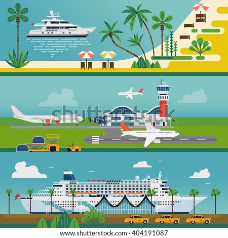 Set of vector travel horizontal website banners. Summer leisure trip and tourism backgrounds. Horizontal vacation journey cruise landscapes. Luxury private yacht charter, cruise ship port, airport - stock vector