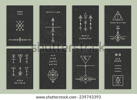 Set of vector trendy cards with geometric icons. Alchemy symbols collection. Religion, philosophy, spirituality, occultism. - stock vector