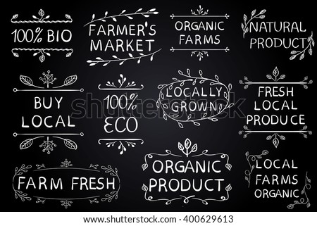 Set of VECTOR typographic elements. Farmers market, farm fresh eco food. Hand-drawn set on black chalkboard background. White lines.  - stock vector