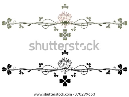 set of vector vignette with clover in green, black and white colors - stock vector