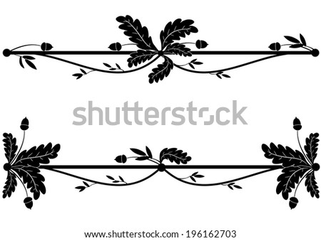 set of vector vignettes with oak branch in black and white colors  - stock vector
