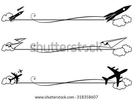 set of vector vignettes with rocket and airplane in black and white colors - stock vector