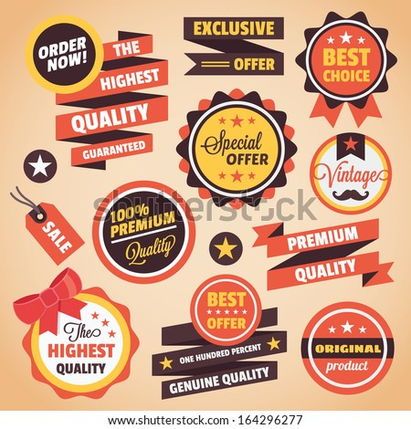 Set of Vector Vintage Badges Stickers Banners and Labels - stock vector