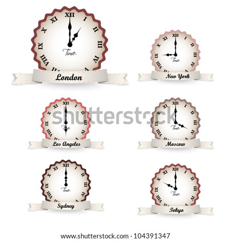 Set of vector vintage clocks  - time zones - stock vector