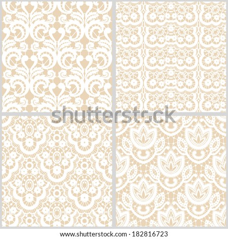 Set of vector vintage lace patterns - stock vector