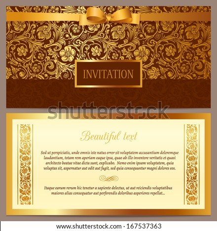 Set of vector vintage luxury horizontal invitation with a beautiful baroque pattern and border. Brown and gold. - stock vector