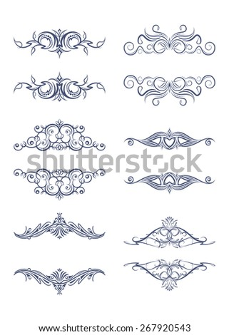 Set of 6 vector vintage text frames - dividers - stock vector