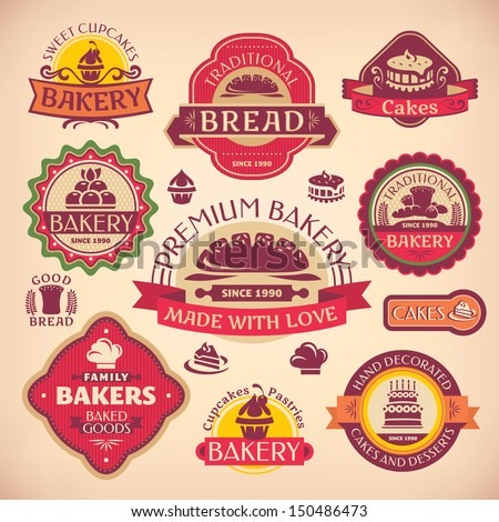 Set of vector vintage various bakery labels - stock vector