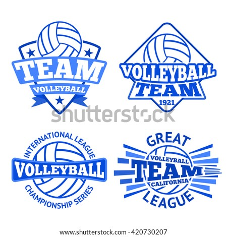 Set of vector volleyball badges, logo templates etc.  - stock vector