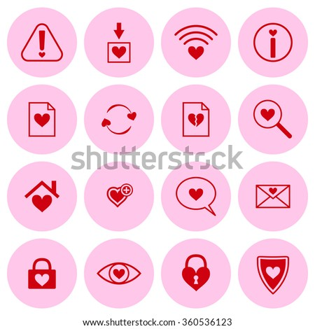 Set of vector web icons with heart symbols - stock vector