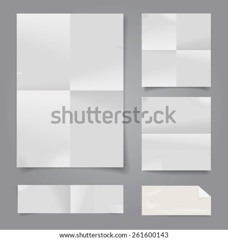 Set of vector white folded papers. - stock vector
