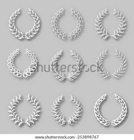 Set of vector white laurel wreaths with shadows on the gray background for page decoration, web design. Floral elements in vintage style. Vector illustration EPS 10. - stock vector