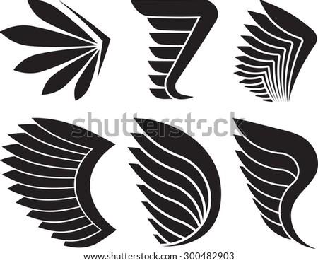 Set of 6 vector wings. - stock vector