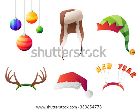 Set of vector winter christmas hats set. For party, street home and new year. Vector illustration - stock vector