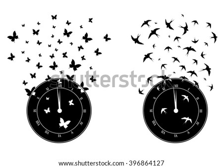 set of vector  with clock, butterflies and swallows - stock vector