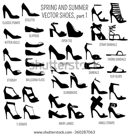 Set of vector women spring and summer shoes isolated on white background - stock vector