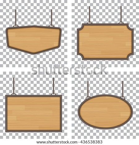 set of vector wooden sign isolated on white background - stock vector