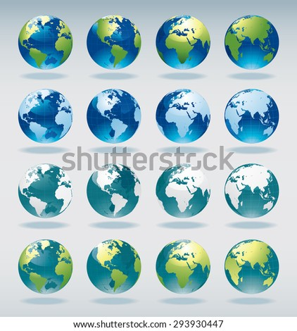 Set of vector world globe icons and symbols - stock vector