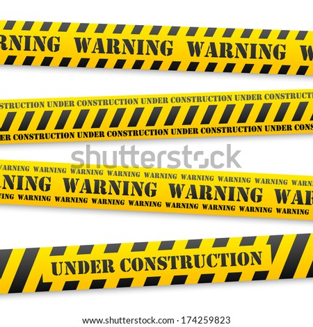 set of vector yellow tapes with black warning sign - stock vector