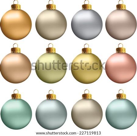 Set of vectors - Christmas balls in earth, natural, pastel metallic colors. - stock vector