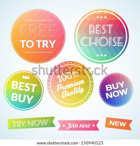 Set of vectors labels banners design template - stock vector