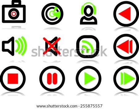 Set of vectors media icons - stock vector
