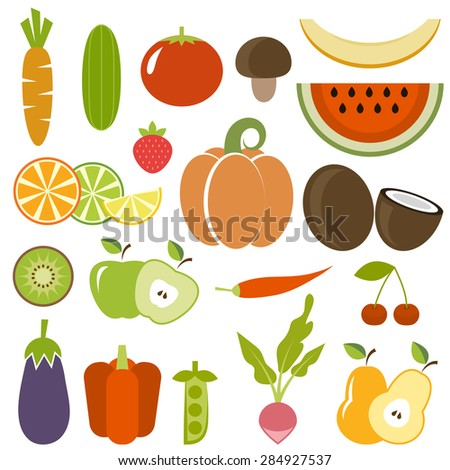 Set of vegetables and fruits - stock vector