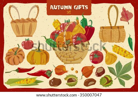 Set of vegetables and objects for artwork.Separate layers of objects and background for easy editing.Illustration done in cartoon style - stock vector