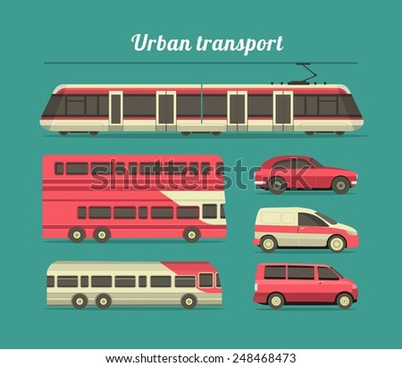 set of vehicles cars, trucks, and trains in the city flat style - stock vector